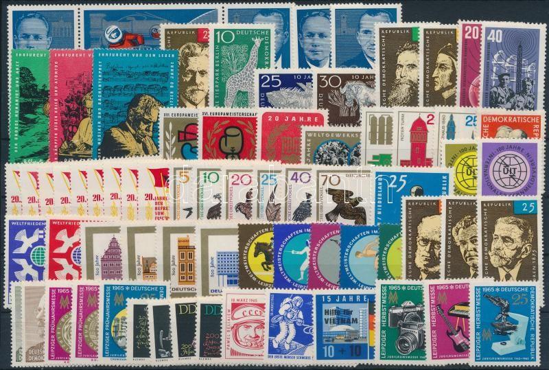Almost complete year (except for 1 stamp and 2 blocks), Csaknem teljes évfolyam kiadásai (1 bélyeg és 2 db blokk kivételével) stecklapon
