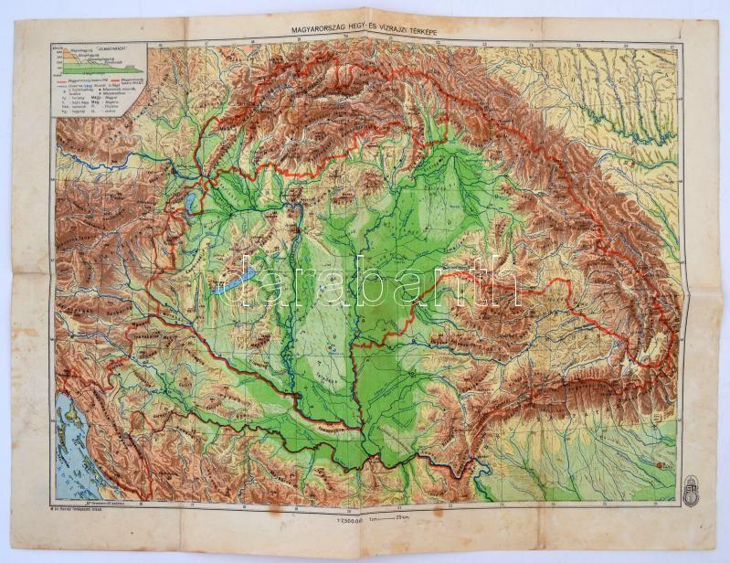 magyarország térkép 1942 cca 1941 1942 Magyarország hegy  és vízrajzi térképe, kiadja a  magyarország térkép 1942