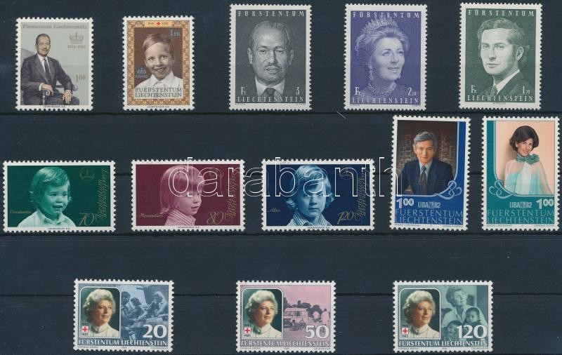 Principality of Liechtenstein 13 stamps, Liechtensteini hercegség 13 klf bélyeg közte sorok