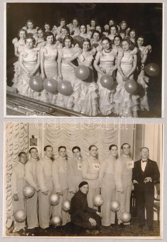cca 1935 Budapest, Társasági élet farsang idején, 2 db korabeli negatívról készült modern nagyítások, 13x18 cm