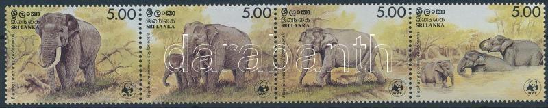WWF Elephants set stripe of 4, WWF: Elefánt sor vízszintes 4-es csíkban