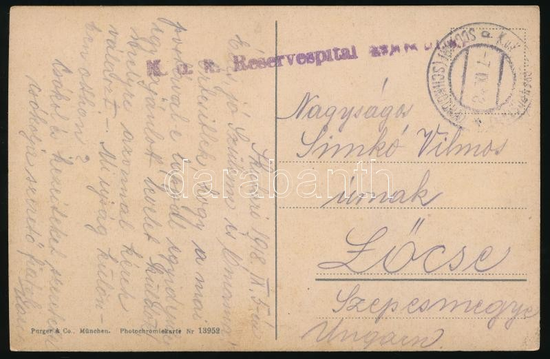 "Field post postcard ""K.u.k. Reservespital (Schkodra)"" + ""EP SCUTARI (SCHKODRA)"", Tábori posta képeslap Albániából Lőcsére ""K.u.k. Reservespital (Schkodra)"" + ""EP SCUTARI (SCHKODRA)"""