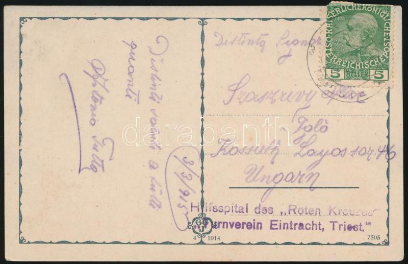 """Field post postcard """"Hilfsspital des """"Roten Kreuzes"""" """"Turnverein Eintracht, Triest."""", Tábori posta képeslap """"Hilfsspital des """"Roten Kreuzes"""" """"Turnverein Eintracht, Triest."""""""