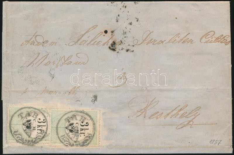 2 x 3kr C.M. fiscal stamps used as postal on (fortified) folded cover, rare!