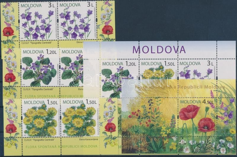 Flowers corner set in pairs + 2 blocks, Virágok ívsarki sor párokban + 2 blokk