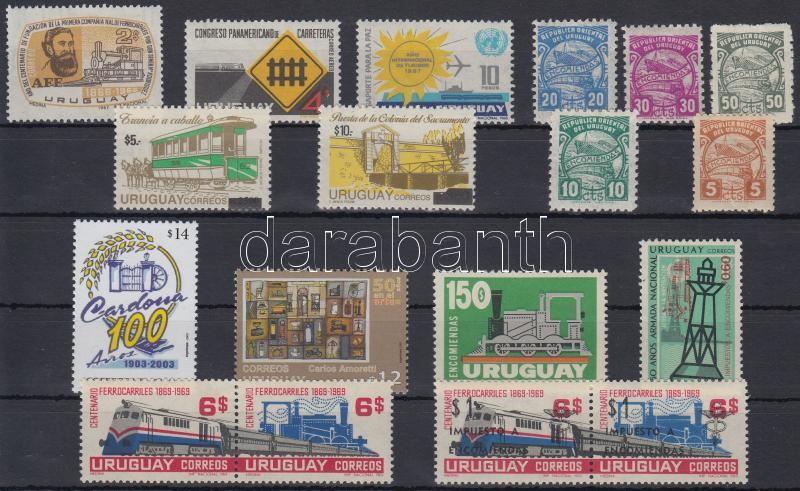 Paraguay, Train 1938-2004 18 stamps, Uruguay, Vonat motívum 1938-2004 18 klf bélyeg, közte sorok