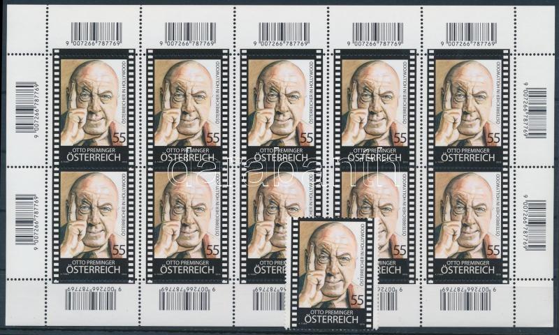 Austrians in Hollywood stamps + minisheet, Osztrákok Hollywoodban bélyeg + kisív