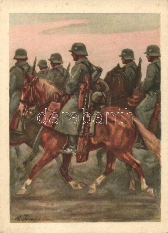 Kavallerie, Die Postkarte des Heeres No. 4 / Cavalry, German military postcard, s: Angelo Jank, Német lovasság, Die Postkarte des Heeres No. 4 s: Angelo Jank