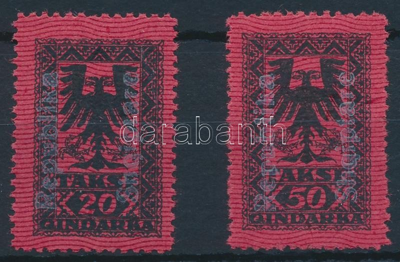 Postage due set 2 values with white overprint, Portó sor 2 értéke fehér felülnyomással