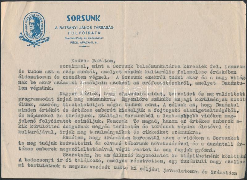 1947 Kanyar József (1916-2005) történész, levéltáros, szerkesztő gépelt, autográf aláírással ellátott levele fejléces papíron.