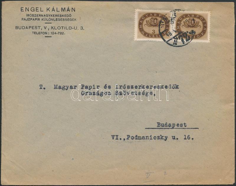 Inflation cover, (15. díjszabás) Helyi levél Milliós 3mP párral bérmentesítve