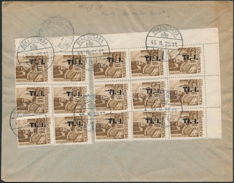Inflation cover, (7. díjszabás) Ajánlott távolsági céges levél Betűs I. Tl.I./10f ívsarki 15-ös tömb bérmentesítéssel