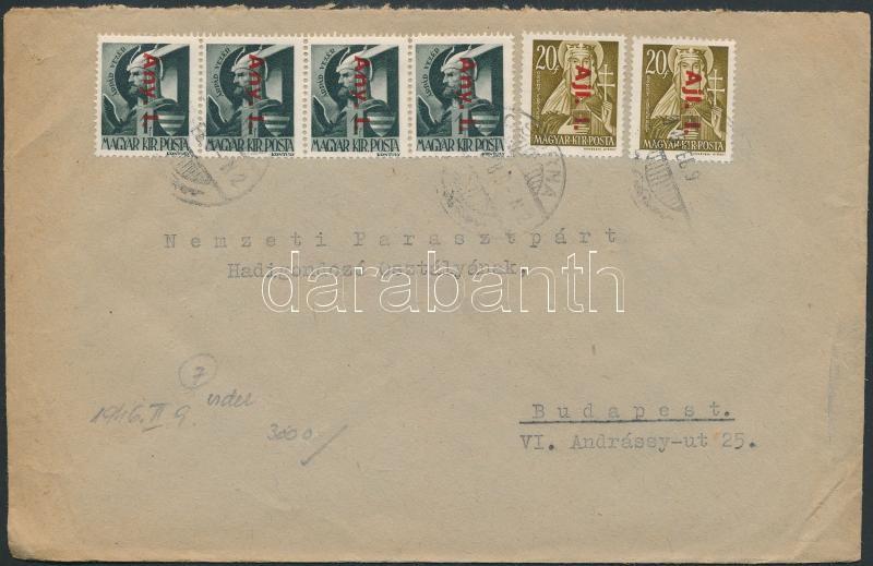 Inflation cover, (7. díjszabás) Távolsági levél Betűs I. Any.I. négyescsík + 2xAjl.I. bérmentesítéssel