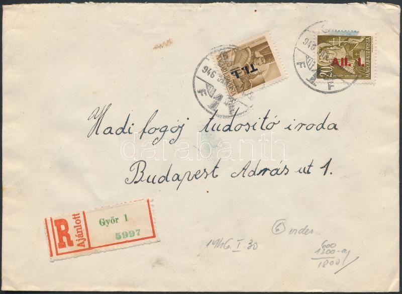 (6. díjszabás) Ajánlott távolsági levél Betűs I. Tl.I/10f + Ajl.I./20f bérmentesítéssel, Inflation cover
