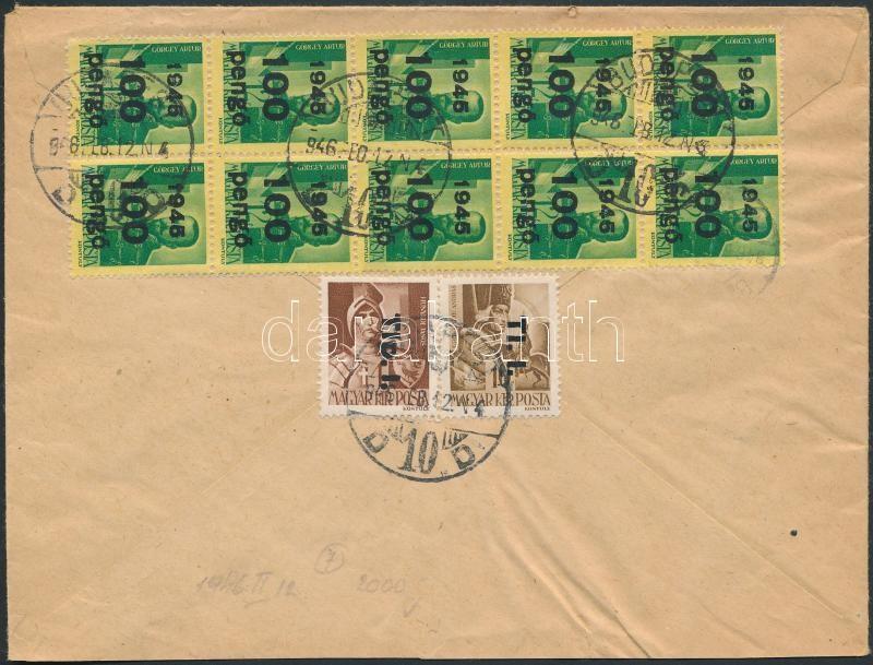 Inflation cover, (7. díjszabás) Távolsági levél Kisegítő III. 10x100P/12f + Tlp.I./4f + Tl.I./10f vegyes bérmentesítéssel