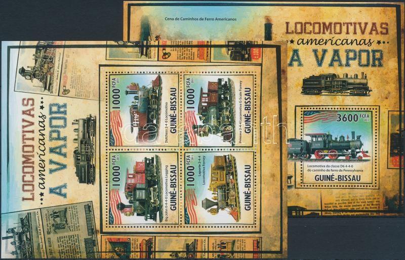 American locomotives minisheet + block, Amerikai mozdonyok kisív + blokk