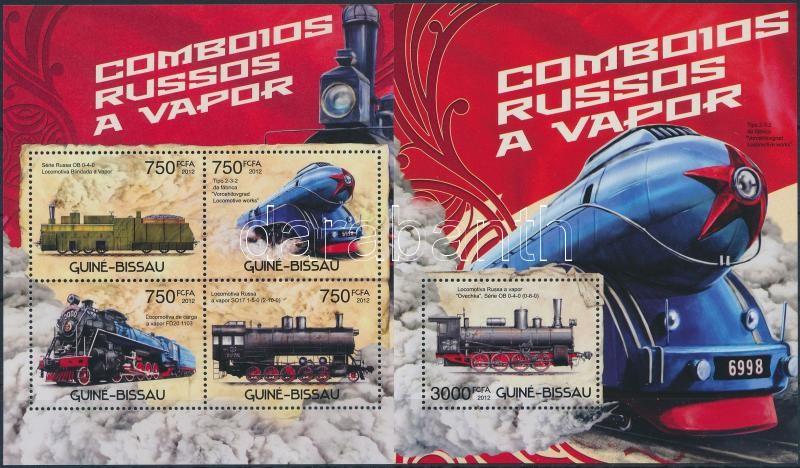 Russian locomotives minisheet + block, Orosz mozdonyok kisív + blokk