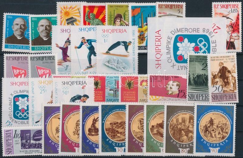 1966-1967 8 klf sor + 1 blokk, 1966-1967 8 sets + 1 block
