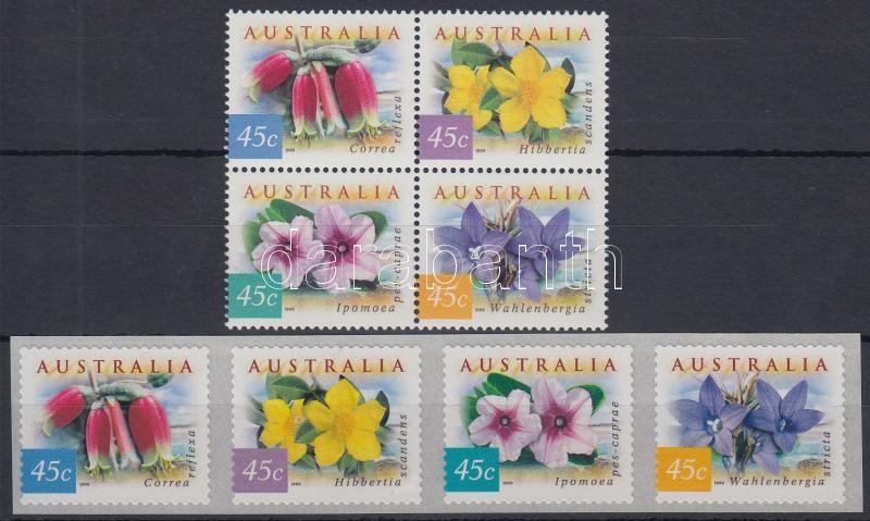 Flower set block of 4 + self-adhesive version, Virágok sor 4-es tömbben + öntapadós változata