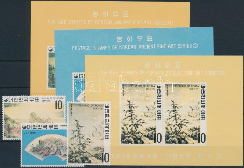 Paintings of the Yi dynasty set + blockset, Festmények a Yi-dinasztia idejéből sor + blokksor