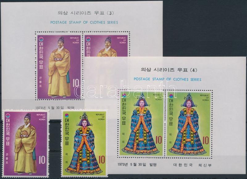 Udvari öltözet Yi- dinasztia korából (2.) sor + blokksor, Courtyard clothing Yi Dynasty (2.) set + blockset