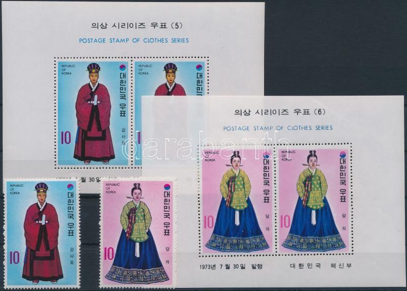 Courtyard clothing from Yi Dynasty (3) set + block, Udvari öltözet Yi- dinasztia korából (3.) sor + blokksor