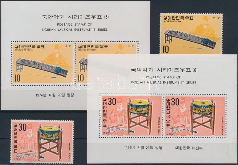 Korean musical instruments (3) set + block set, Koreai hangszerek (3.) sor + blokksor