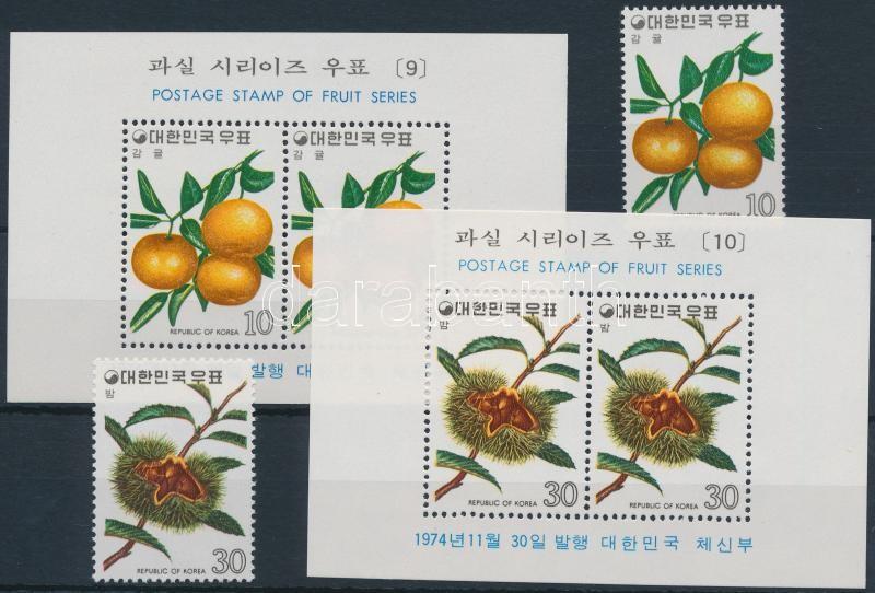 Fruits (5) set + block set, Gyümölcsök (5.) sor + blokksor