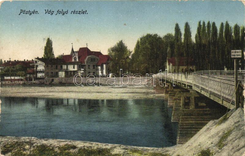 Piest'any, river, bridge, Pöstyén, Vág folyó részlet; Dohány nagyáruda kiadása