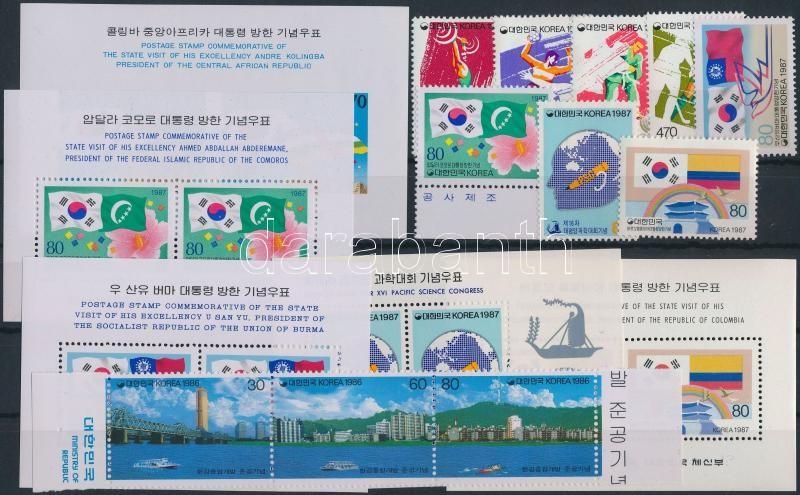 1986-1987 5 diff blocks  + 1 set + 4 diff stamps + 1 stripe of 3, 1986-1987 5 klf blokk + 1 sor + 4 klf önálló érték + 1 hármascsík