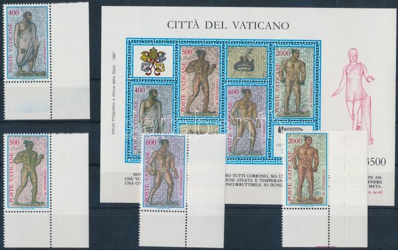 Stamp Exhibition OLYMPHILEX corner set + block, Bélyegkiállítás; OLYMPHILEX ívsarki sor + blokk
