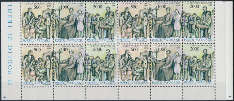 St. Giovanni Bosco sheet piece with 4 stripes of 3, Szent Giovanni Bosco 4 hármascsíkot tartalmazó ívdarab