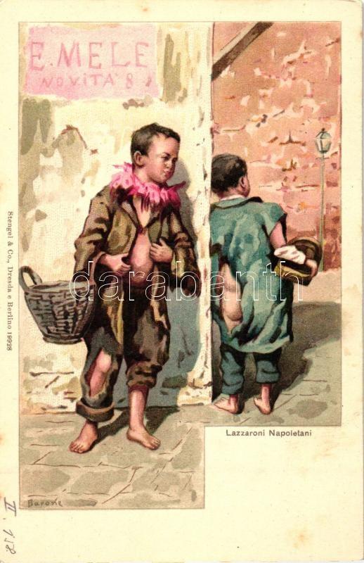Naples, Napoli; Lazzaroni Napoletani / child beggars, folklore, litho s: Barone