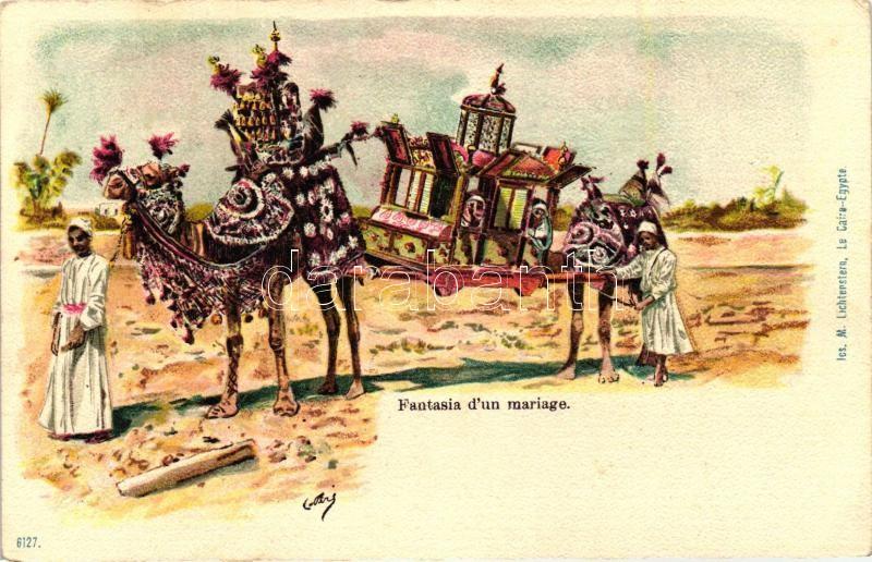 Fantasia d'un mariage / Egyptian folklore, wedding, camels, litho, artist signed, Egyiptomi folklór, esküvő, tevék, litho, művész aláírásával
