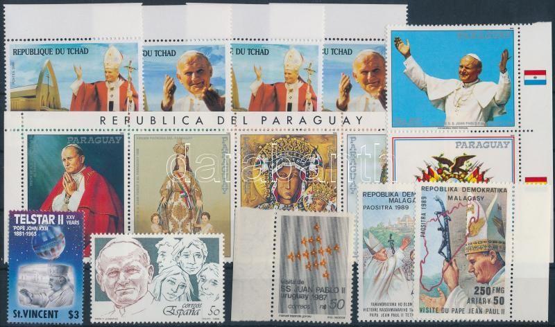 II. János Pál pápa motívum 1986-1990 32 klf bélyeg, benne sorok, összefüggések + 2 klf blokk, Pope John Paul II 1986-1990 32 diff stamps with sets + 2 diff blocks