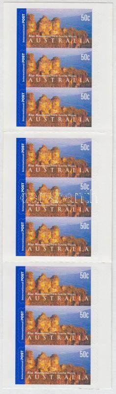 Australian landscapes self-adhesive stamp-booklet with 9 stamps, Ausztrál tájak 9 bélyeget tartalmazó öntapadós bélyegfüzet