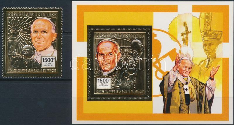 Pope John Paul II's visit gold fiol stamp + block, II. János Pál pápa látogatása aranyfóliás bélyeg + blokk