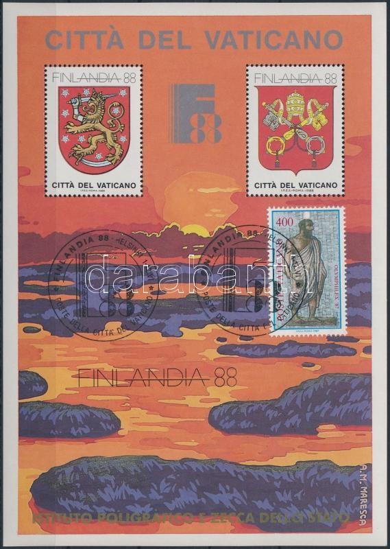 Stamp Exhibition FINLANDIA memorial sheet with occasional cancellation, Bélyegkiállítás FINLANDIA alkalmi bélyegzésű emlékív