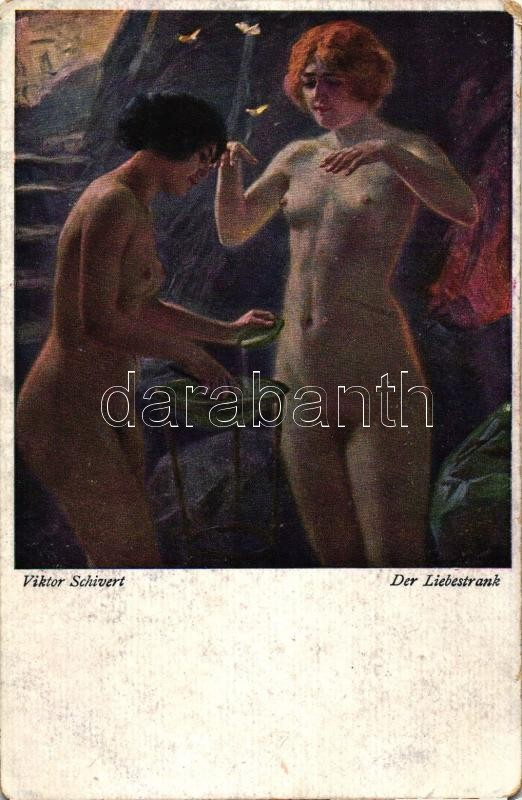 Der Liebestrank / Erotic nuder art postcard, T.S.N. No. 801. s: Viktor Schivert, Erotikus meztelen művészeti képeslap, T.S.N. No. 801. s: Viktor Schivert