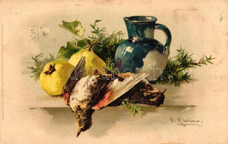Dead birds in still life, Meissner & Buch Künstler-Postkarten Serie 1167. litho, Halott madarak csendéletben, Meissner & Buch Künstler-Postkarten Serie 1167. litho