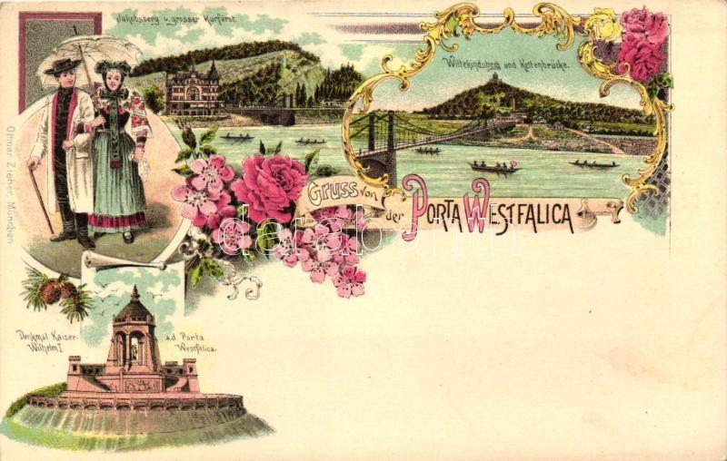 Porta Westfalica, Denkmal Kaiser Wilhelm I, Jakobsberg, Grosser Kurfürst, Wittekindsberg, Kettenbrücke / monument, bridge, folklore, Ottmar Zieher's floral, Art Nouveau litho