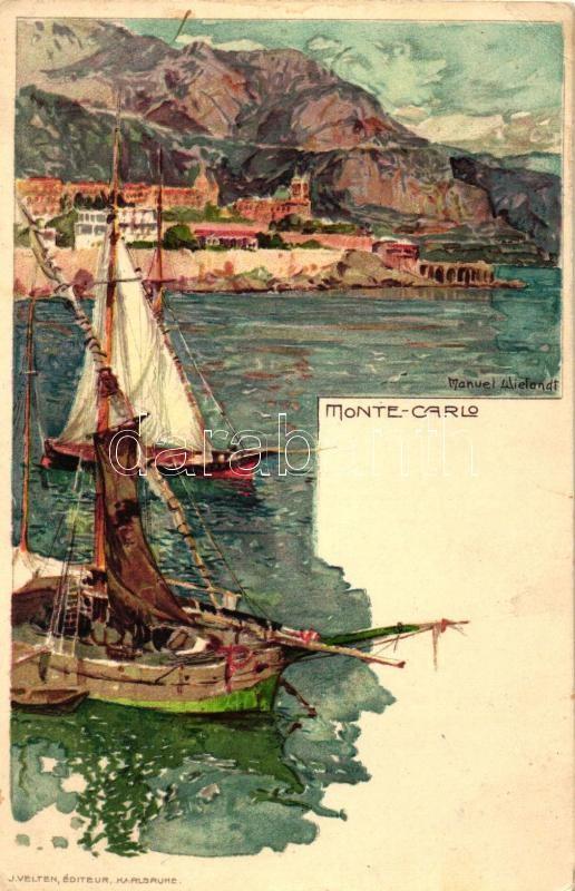 Monte Carlo, ships, J. Velten 466. litho s: Manuel Wielandt