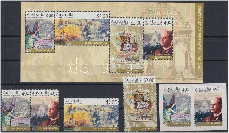 Centenary of Commonwealth set with pair + self-adhesive pair + block, 100 éves a Nemzetközösség sor párral + öntapadós pár + blokk