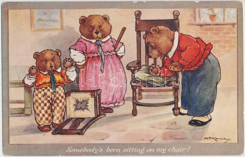 Somebody's been sitting on my chair, bear family, humour, C.W. Faulkner & Co. Series 1336. s: A.E. Kennedy, 'Valaki ült a székemen', medve család, humor, C.W. Faulkner & Co. sorozat 1336. s: A.E. Kennedy