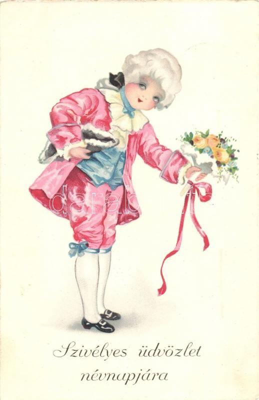 Name Day, baroque child, litho, Névnapi üdvözlőlap, gyerek barokk ruhában, litho
