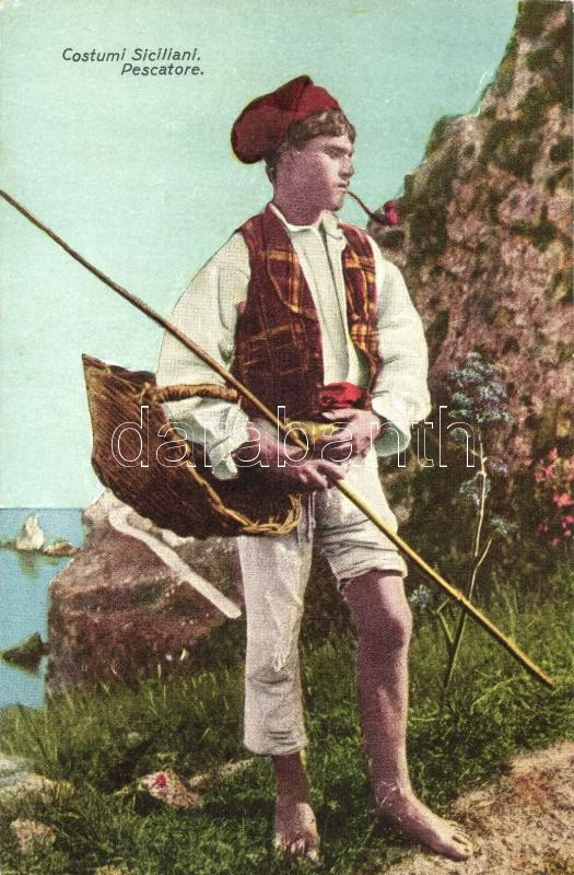 Costumi Siciliani, Pescatore / Sicilian folklore, fisherman, Szicíliai folklór, pipázó halász