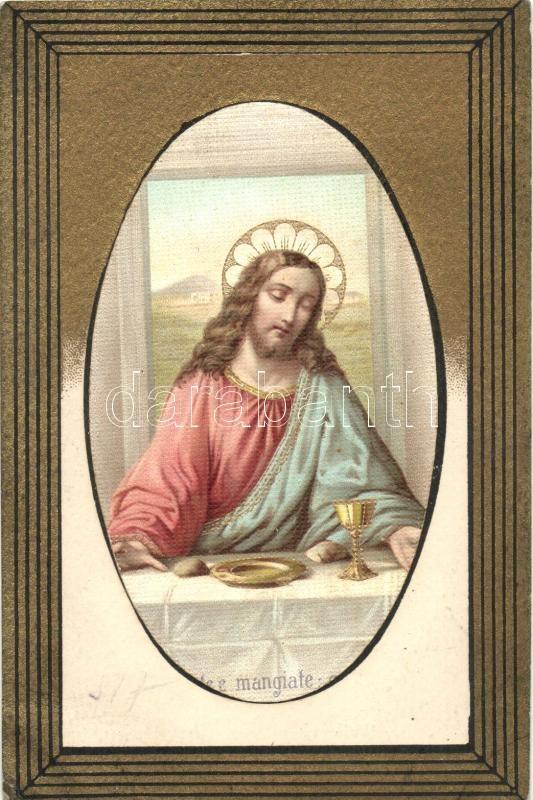 Jesus at the Last Supper, golden art postcard, B.N.K. Serie 80. litho, Jézus az utolsó vacsorán, arany művészeti képeslap, B.N.K. Serie 80. litho