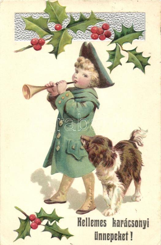 Christmas, child, dog, Erika Nr. 3720. Emb. litho, Karácsony, gyerek, kutya, Erika Nr. 3720. dombornyomott, litho