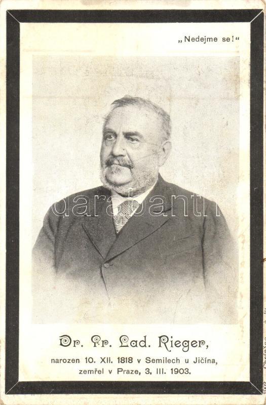 Frantisek Ladislav Rieger, obituary card, Frantisek Ladislav Rieger, gyászjelentés