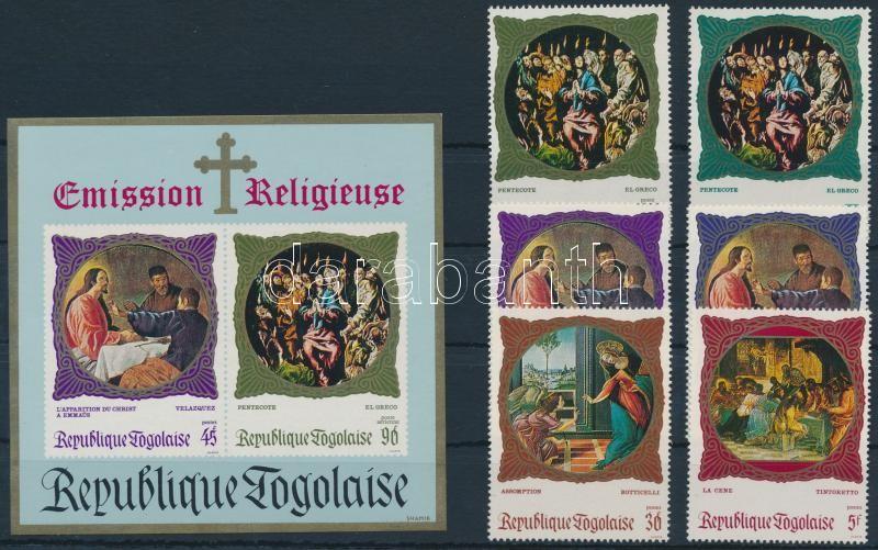 Religious paintings set + block, Vallási témájú festmények sor + blokk
